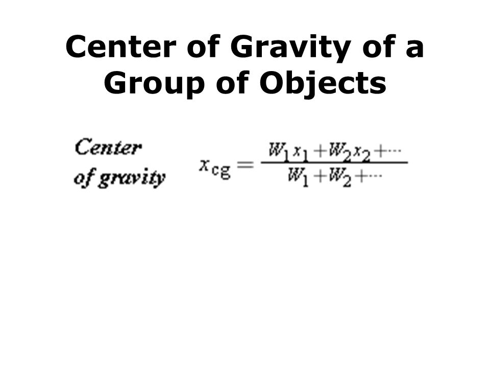 Center of Gravity of a Group of Objects