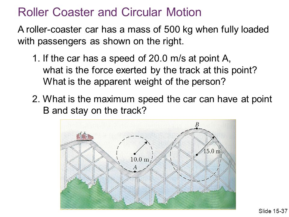 A roller-coaster car has a mass of 500 kg when fully loaded with passengers as shown on the right.