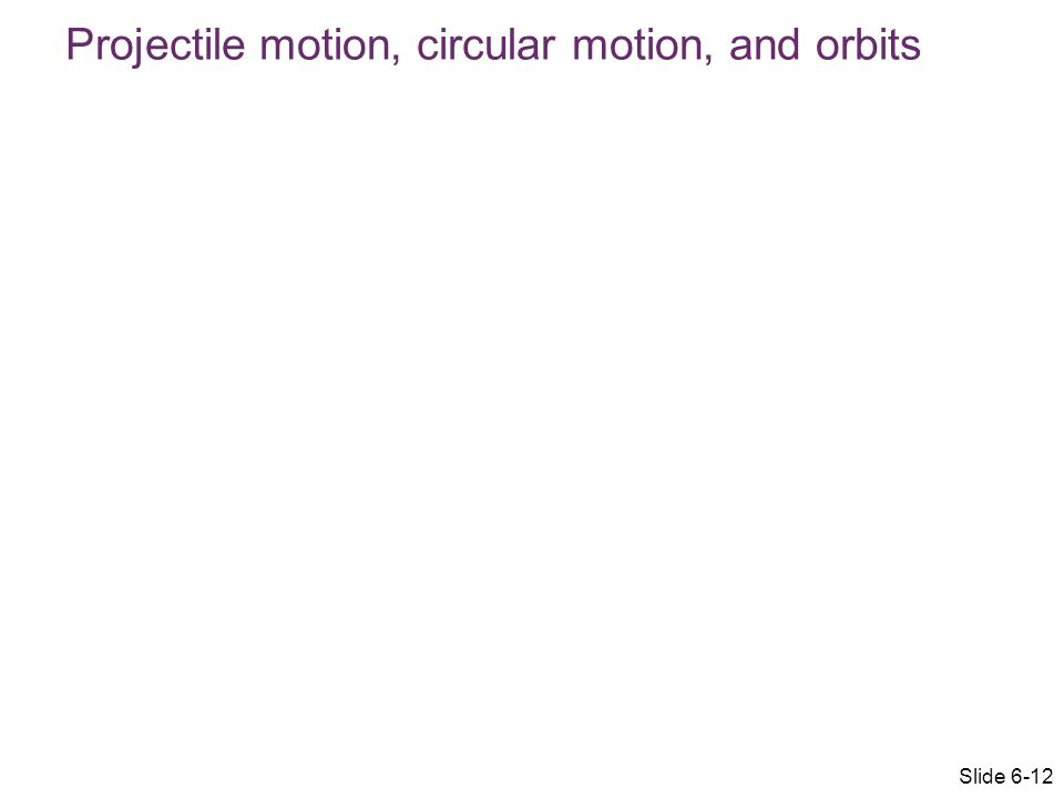 Projectile motion, circular motion, and orbits Slide 6-12
