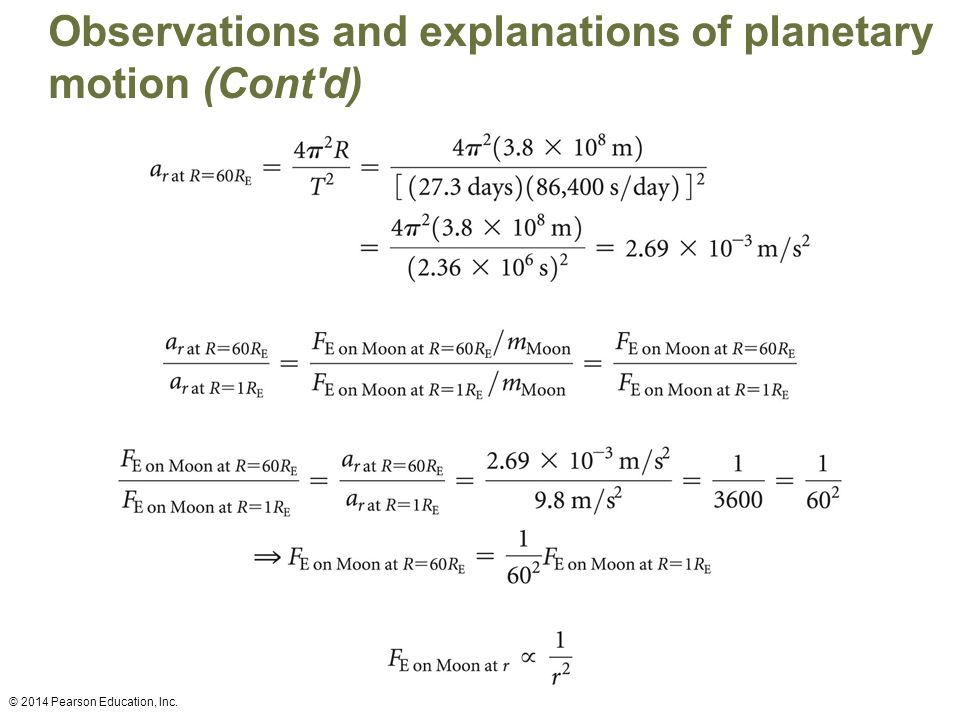 Observations and explanations of planetary motion (Cont d) © 2014 Pearson Education, Inc.