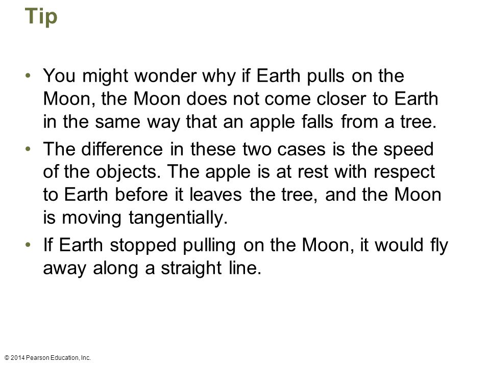 Tip You might wonder why if Earth pulls on the Moon, the Moon does not come closer to Earth in the same way that an apple falls from a tree.