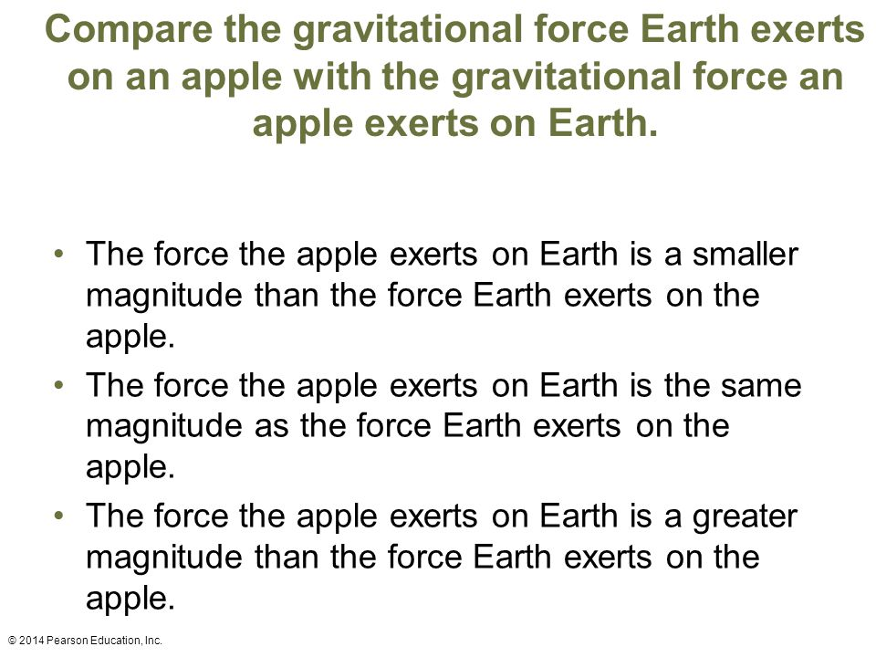 Compare the gravitational force Earth exerts on an apple with the gravitational force an apple exerts on Earth.
