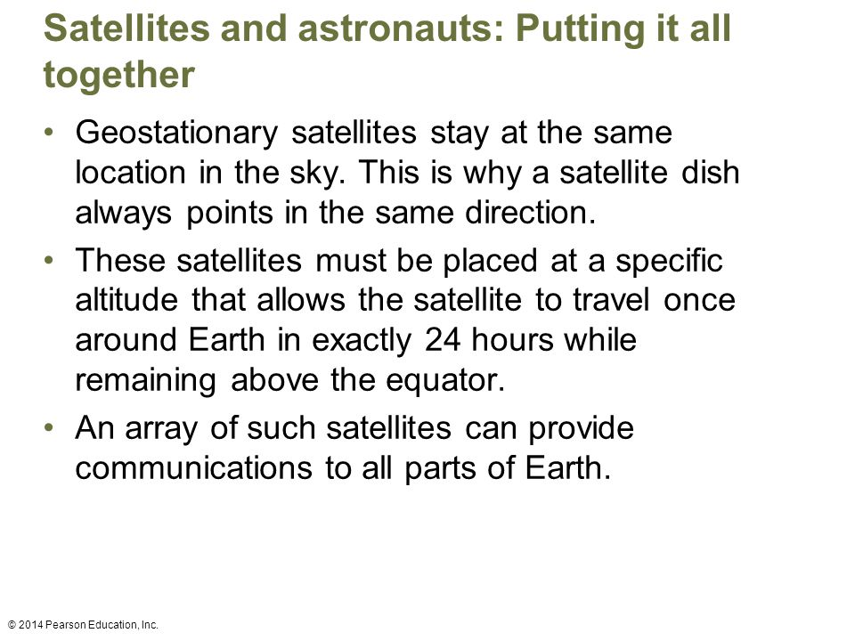 Satellites and astronauts: Putting it all together Geostationary satellites stay at the same location in the sky.