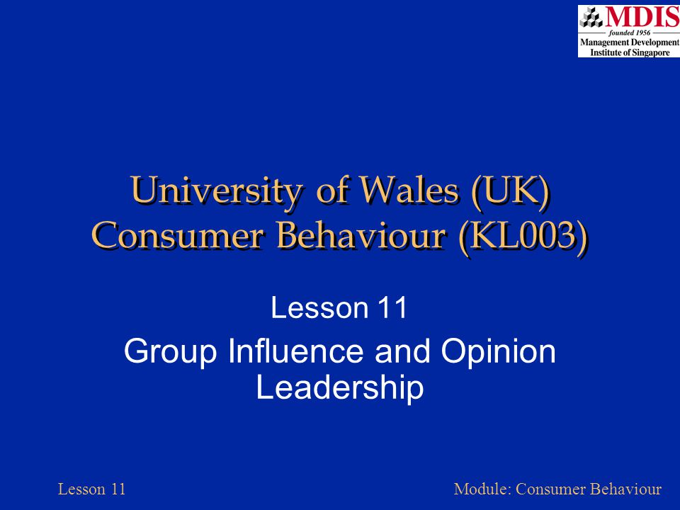 Lesson 11Module: Consumer Behaviour University of Wales (UK) Consumer Behaviour (KL003) Lesson 11 Group Influence and Opinion Leadership