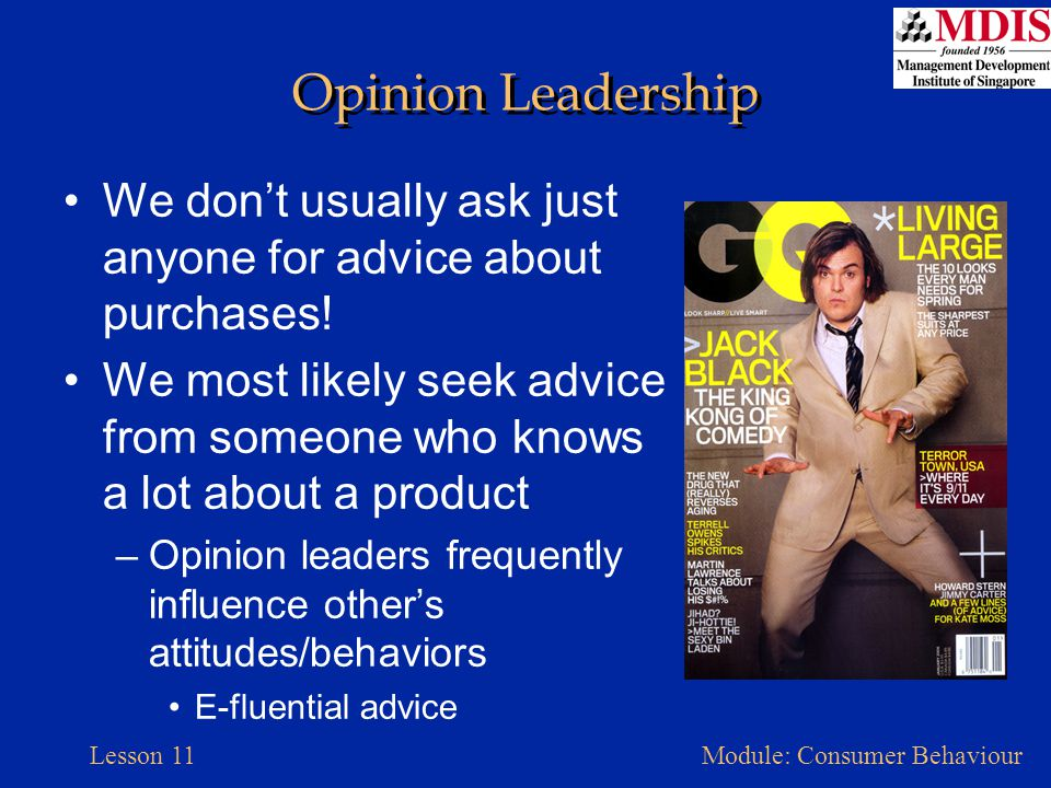 Lesson 11Module: Consumer Behaviour Opinion Leadership We don't usually ask just anyone for advice about purchases! We most likely seek advice from so