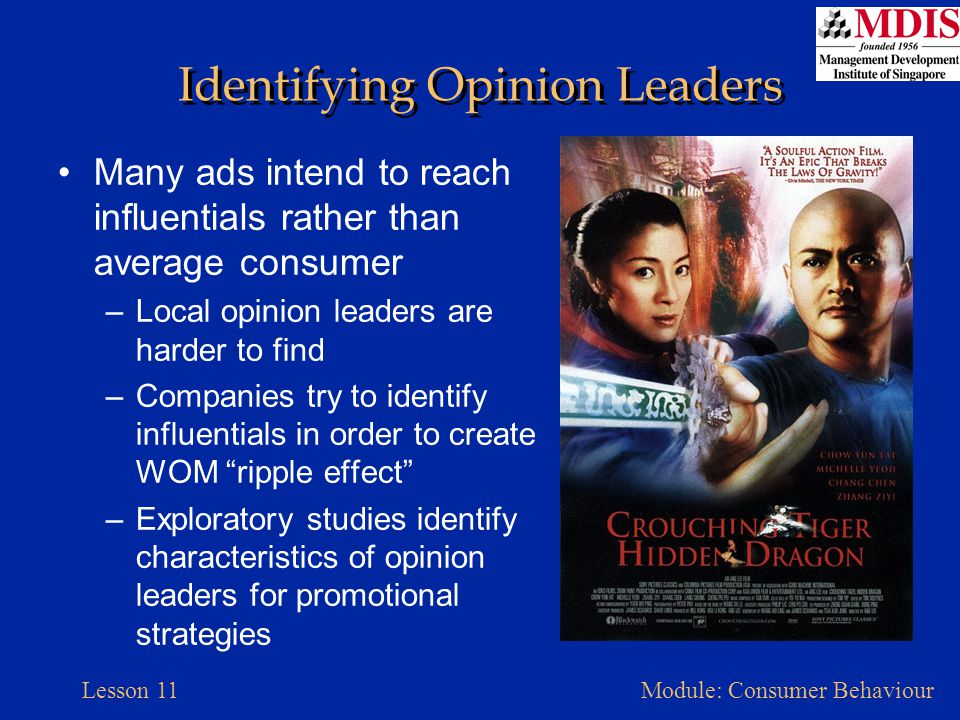 Lesson 11Module: Consumer Behaviour Identifying Opinion Leaders Many ads intend to reach influentials rather than average consumer –Local opinion lead