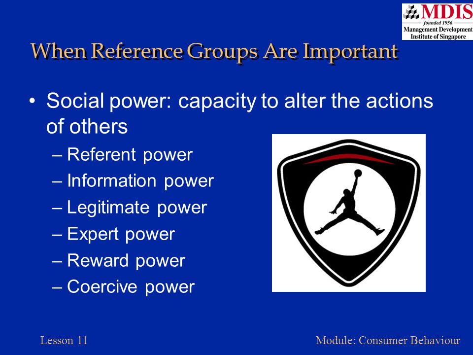 Lesson 11Module: Consumer Behaviour Types of Reference Groups Any external influence that provides social clues –Cultural figure –Parents –A large, formal organization Tend to be more product- or activity-specific: comparative influence –Small and informal groups Exert a more powerful influence on individual consumers A part of our day-to-day lives: normative influence