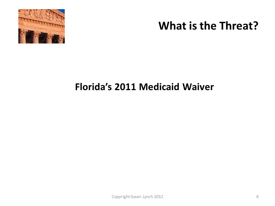 Current Medicaid Options  20 percent of Medicaid PCPs are NPs  3.2 million people now receive Medicaid in Florida  ARNPs can currently directly bill Fee for Service Medicaid  Patients can choose APRN as primary care provider  APRN must follow state Practice Act  Under Affordable Care Act estimated 1 million more people eligible Copyright Susan Lynch 20127