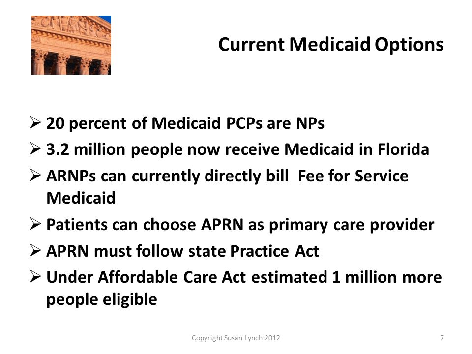 Current Medicaid Options  20 percent of Medicaid PCPs are NPs  3.2 million people now receive Medicaid in Florida  ARNPs can currently directly bill Fee for Service Medicaid  Patients can choose APRN as primary care provider  APRN must follow state Practice Act  Under Affordable Care Act estimated 1 million more people eligible Copyright Susan Lynch 20127