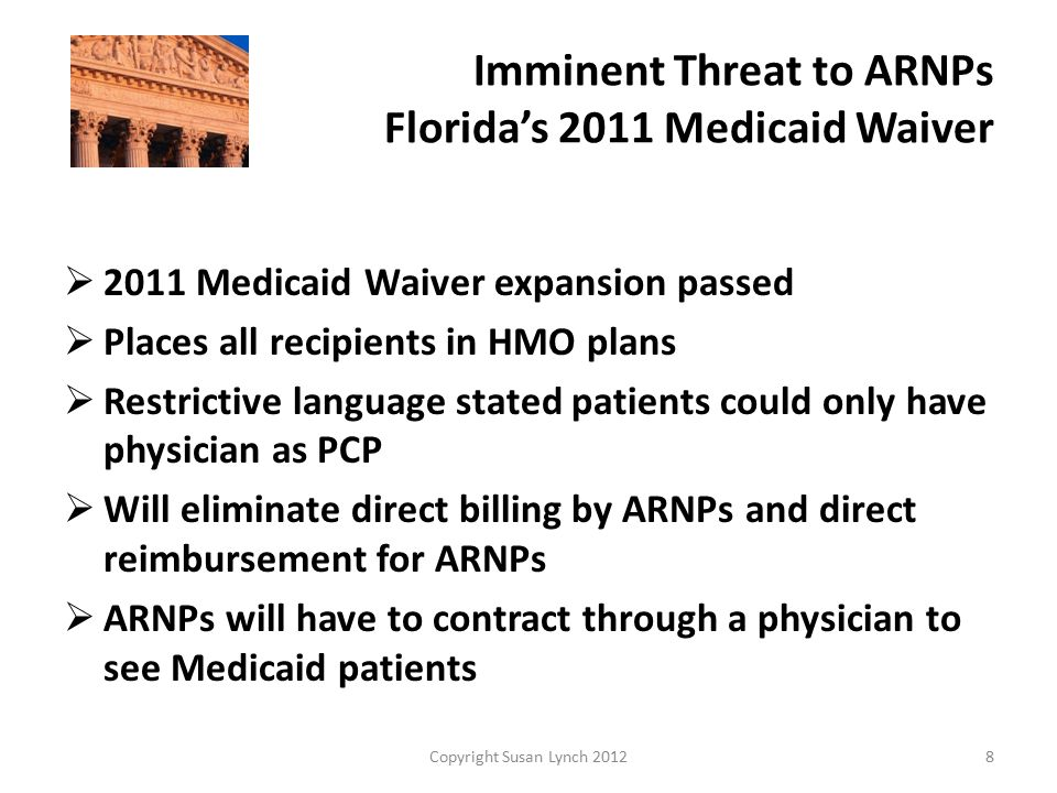Imminent Threat to ARNPs Florida's 2011 Medicaid Waiver  Waiver eliminates the Fee for Service Program  Many APRN owned practices will be forced to shut down as a result.