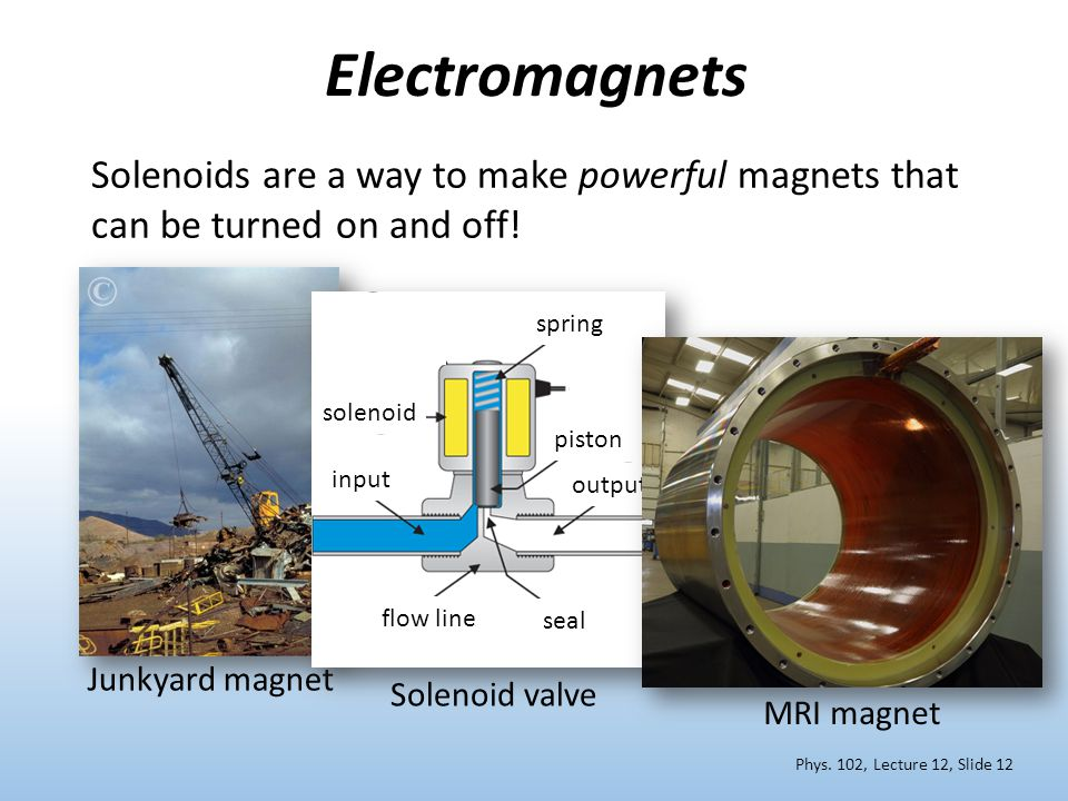 Solenoids are a way to make powerful magnets that can be turned on and off! Electromagnets Phys. 102, Lecture 12, Slide 12 Junkyard magnet Solenoid va