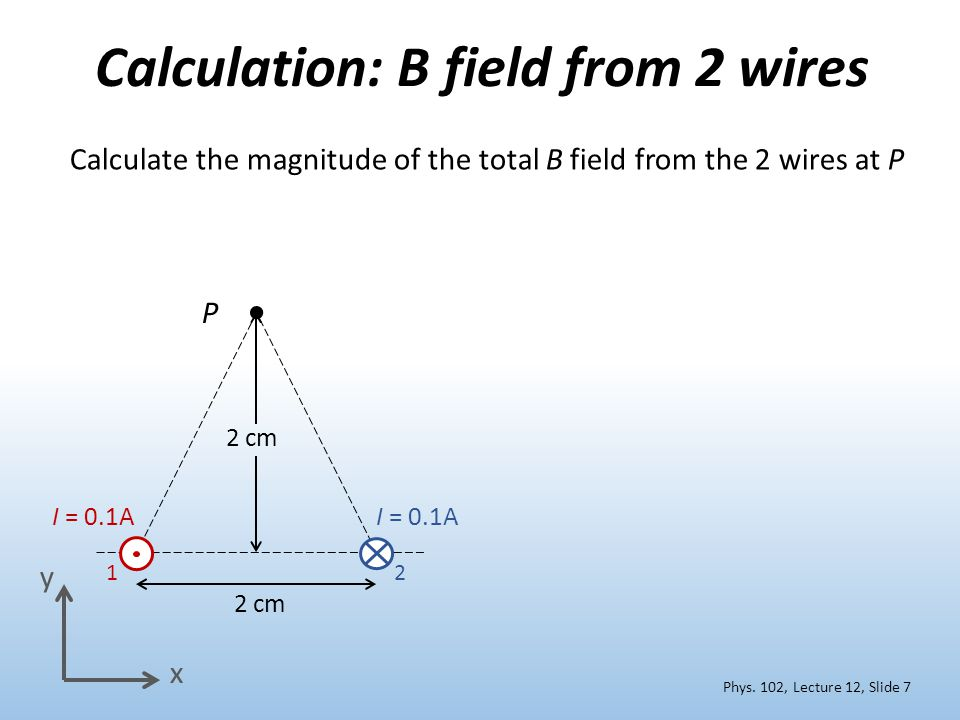 Calculation: B field from 2 wires Calculate the magnitude of the total B field from the 2 wires at P I = 0.1A 12 2 cm x y Phys.