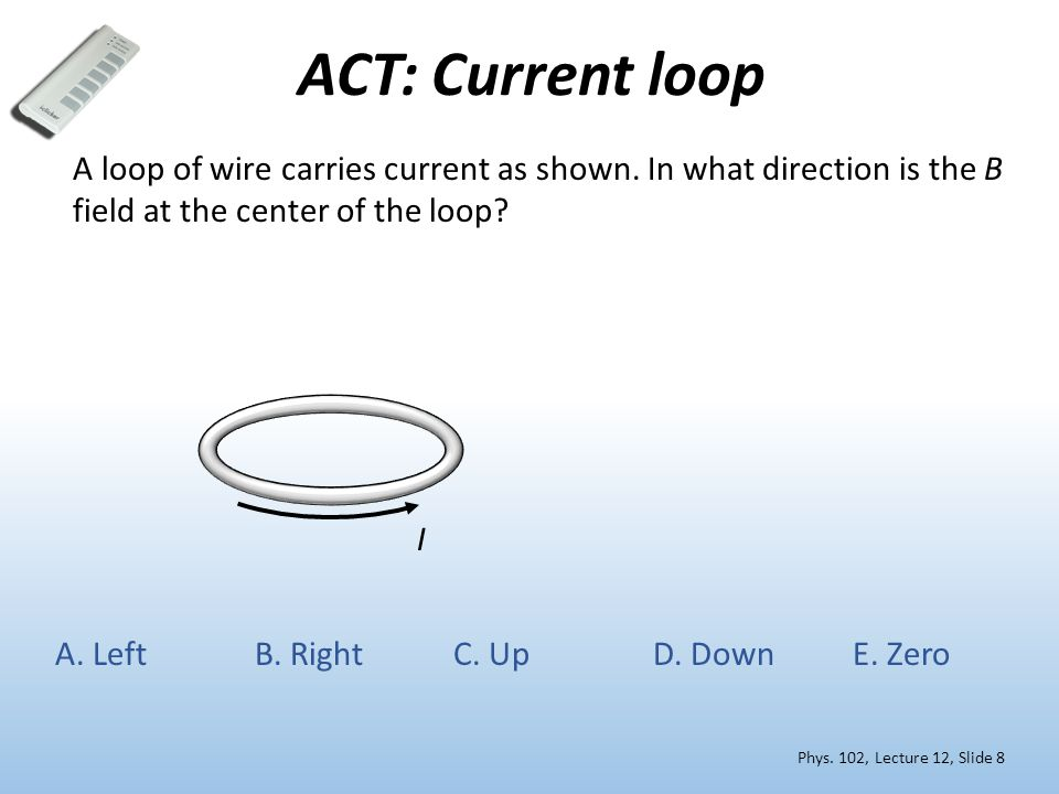 N S Current loops & magnetic dipoles Phys.102, Lecture 12, Slide 9 N S Recall Lect.