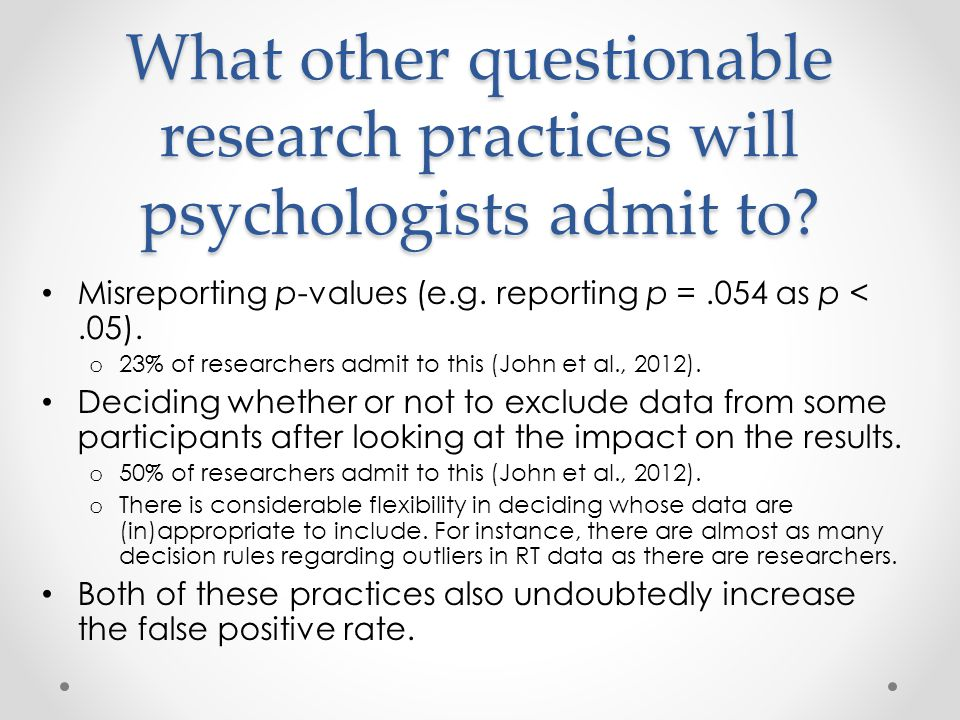 What other questionable research practices will psychologists admit to.