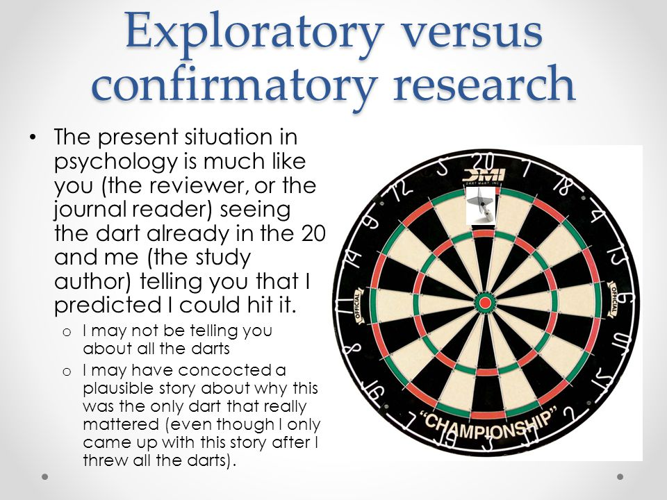 Exploratory versus confirmatory research The present situation in psychology is much like you (the reviewer, or the journal reader) seeing the dart already in the 20 and me (the study author) telling you that I predicted I could hit it.