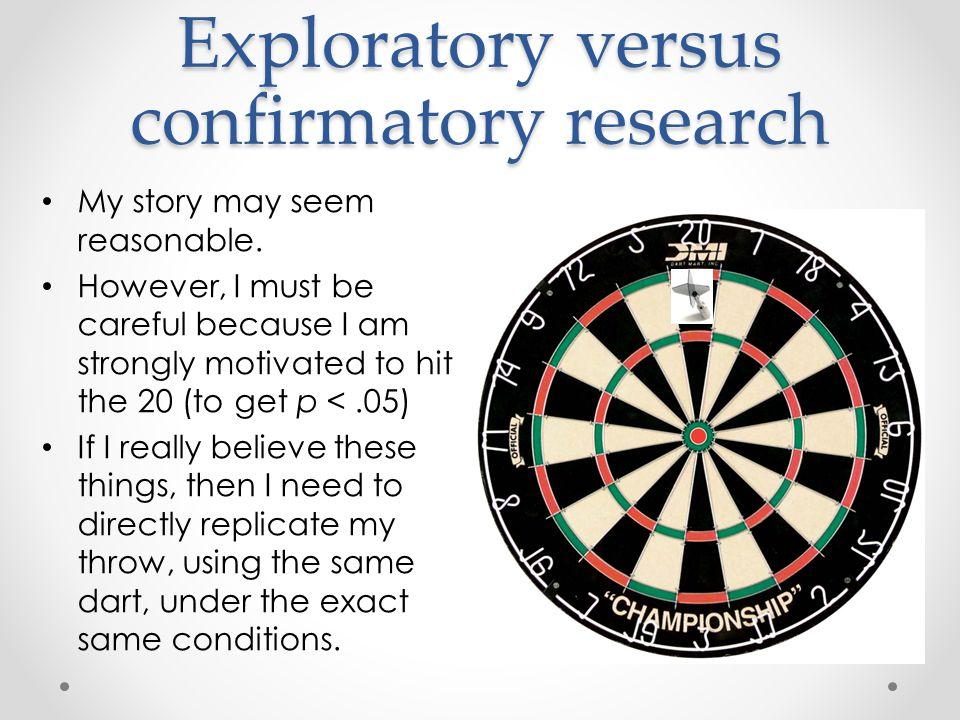 Exploratory versus confirmatory research My story may seem reasonable.