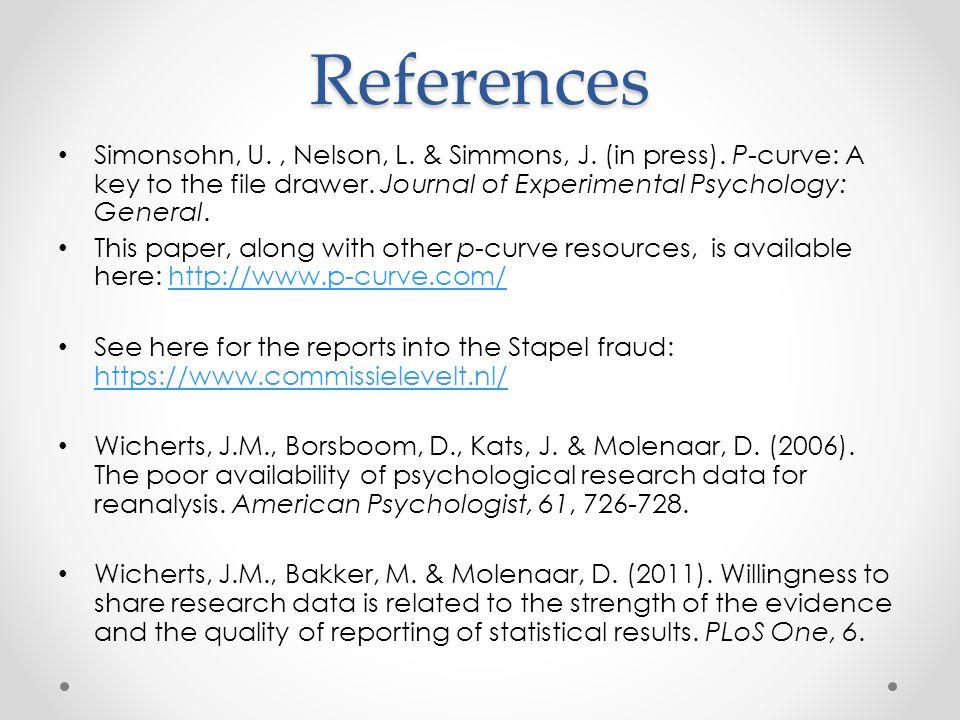 References Simonsohn, U., Nelson, L. & Simmons, J.