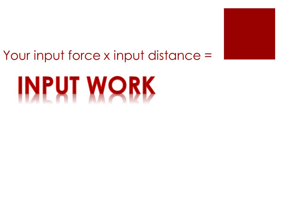 Your input force x input distance =