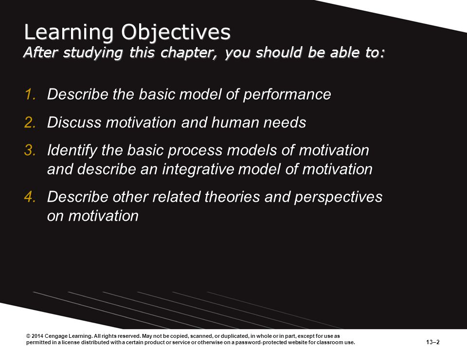 13–2 Learning Objectives After studying this chapter, you should be able to: 1.Describe the basic model of performance 2.Discuss motivation and human needs 3.Identify the basic process models of motivation and describe an integrative model of motivation 4.Describe other related theories and perspectives on motivation