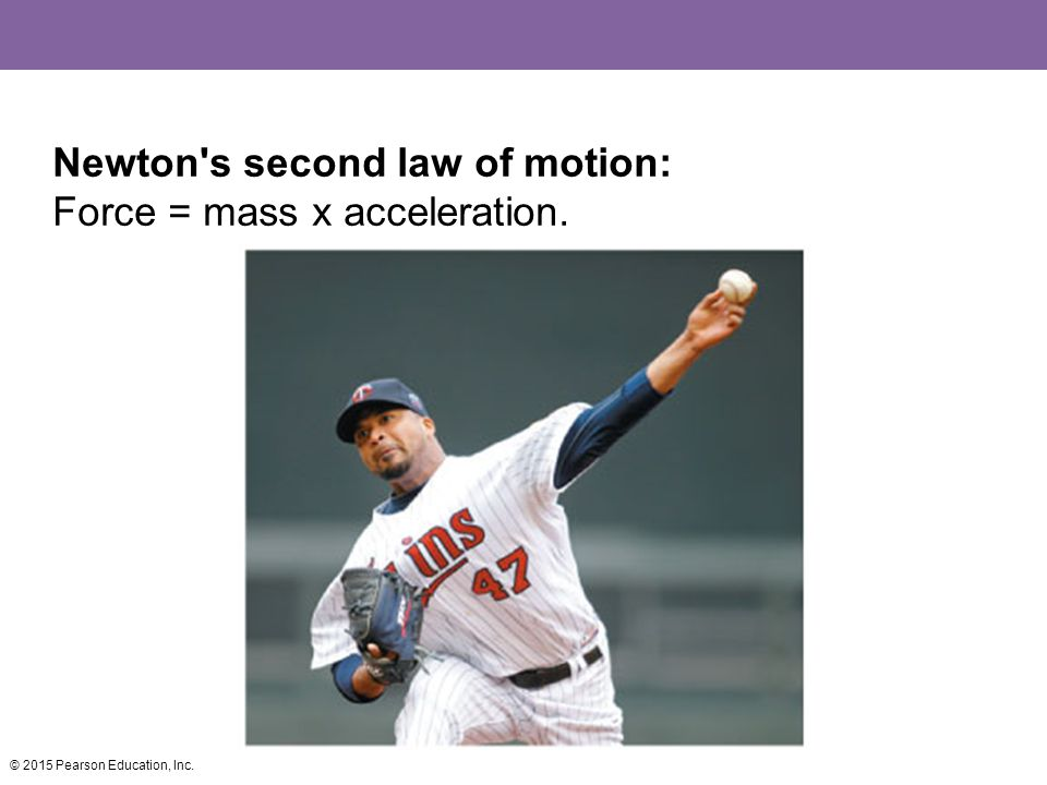 Newton s second law of motion: Force = mass x acceleration. © 2015 Pearson Education, Inc.