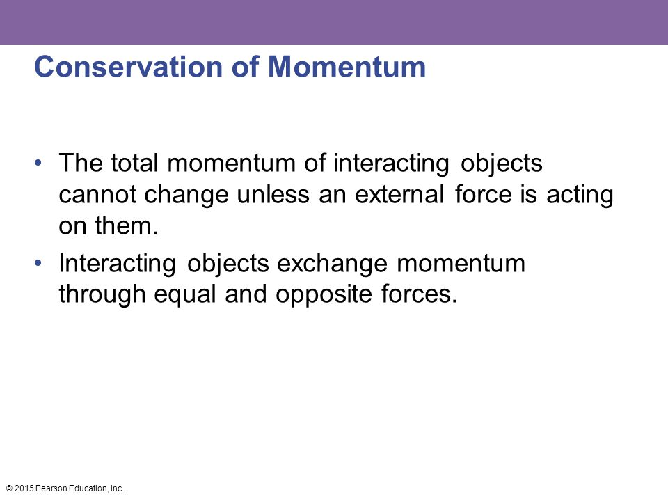 Conservation of Momentum The total momentum of interacting objects cannot change unless an external force is acting on them.