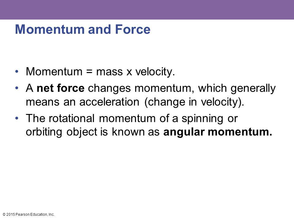 Momentum and Force Momentum = mass x velocity.