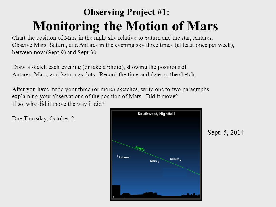 Observing Project #1: Monitoring the Motion of Mars Chart the position of Mars in the night sky relative to Saturn and the star, Antares.