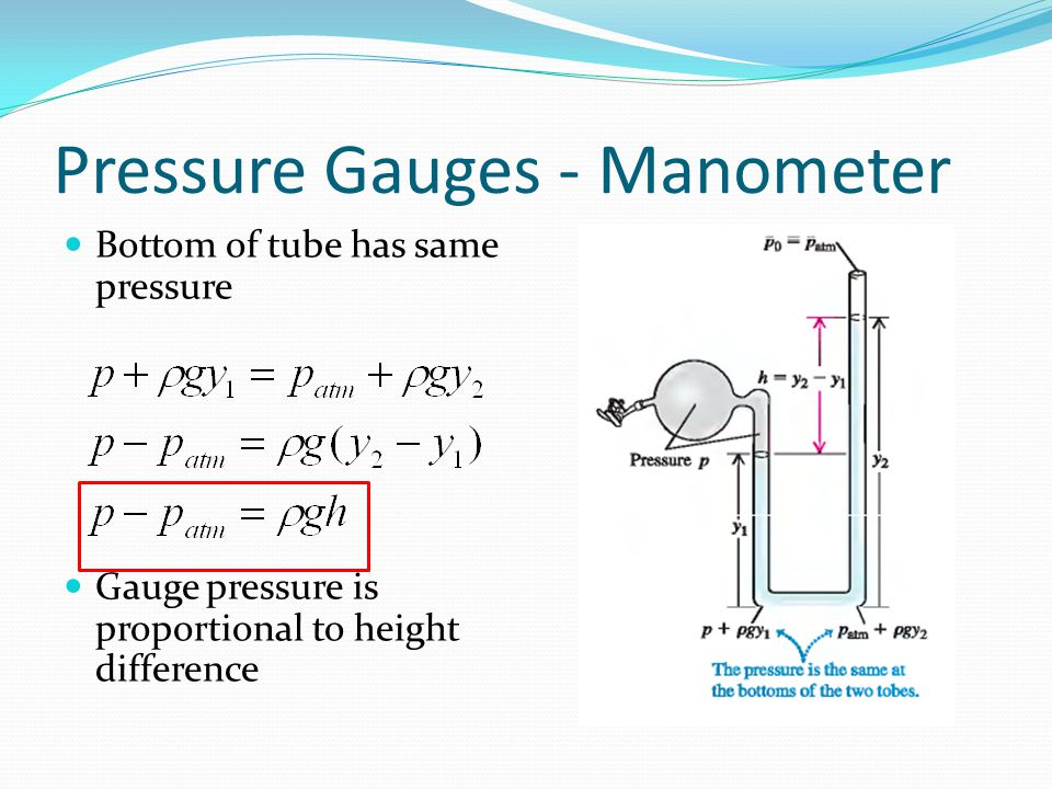 Pressure Gauges - Manometer Bottom of tube has same pressure Gauge pressure is proportional to height difference