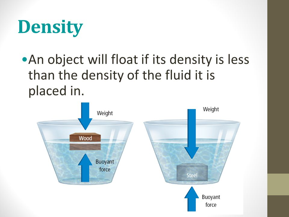 Density An object will float if its density is less than the density of the fluid it is placed in.