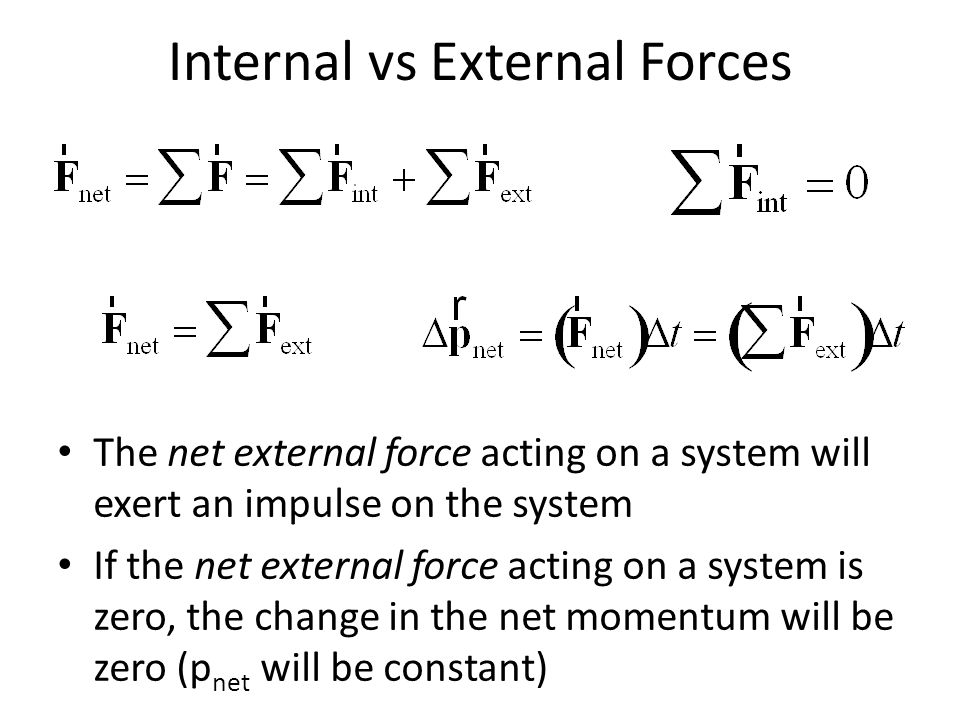 Internal vs External Forces The net external force acting on a system will exert an impulse on the system If the net external force acting on a system
