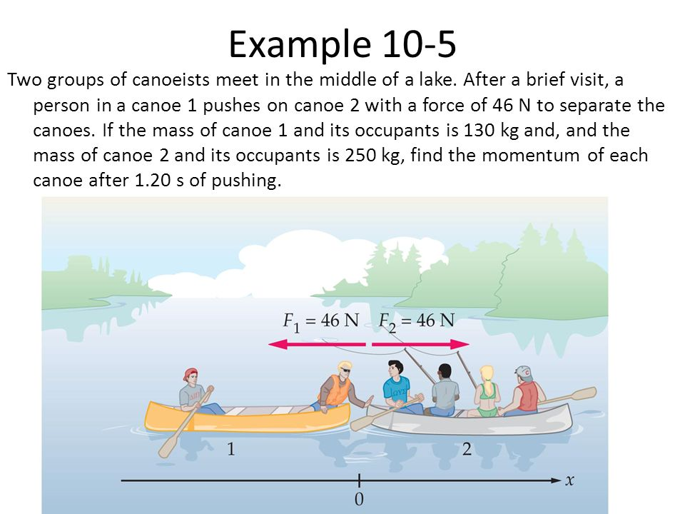 Example 10-5 Two groups of canoeists meet in the middle of a lake. After a brief visit, a person in a canoe 1 pushes on canoe 2 with a force of 46 N t