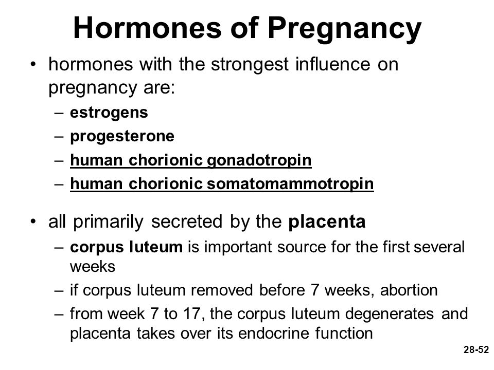 28-52 Hormones of Pregnancy hormones with the strongest influence on pregnancy are: –estrogens –progesterone –human chorionic gonadotropin –human chor