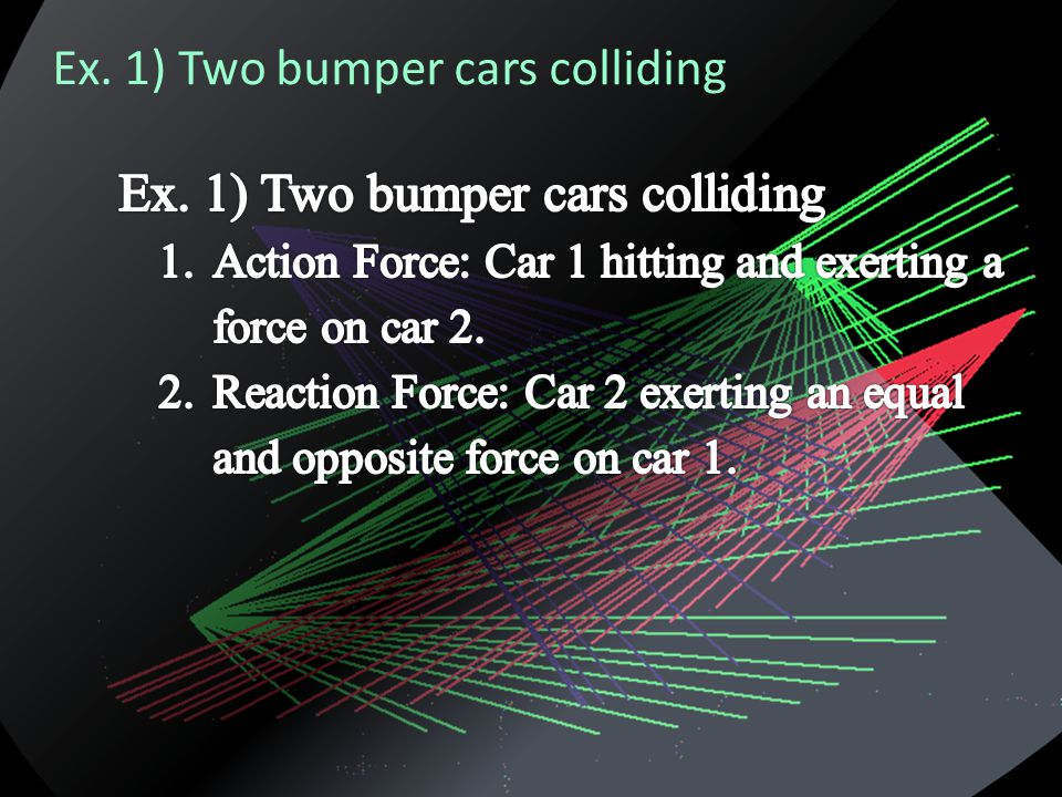 Ex. 1) Two bumper cars colliding