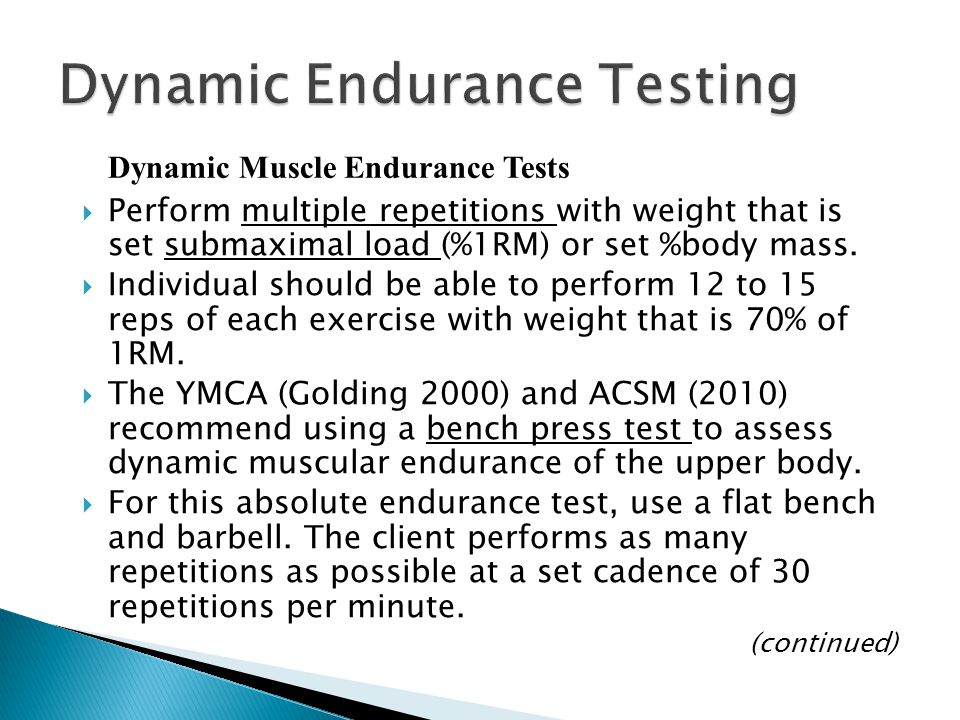  Perform multiple repetitions with weight that is set submaximal load (%1RM) or set %body mass.  Individual should be able to perform 12 to 15 reps