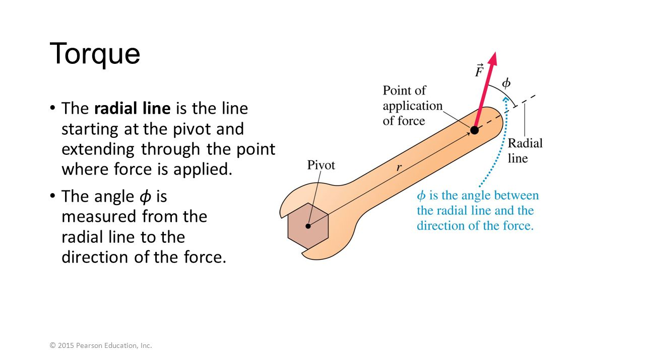 Net Torque The net torque is the sum of the torques due to the applied forces: © 2015 Pearson Education, Inc.
