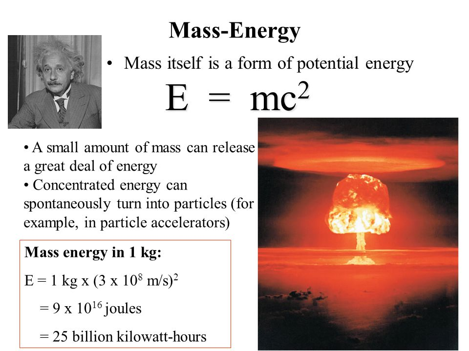 Mass-Energy Mass itself is a form of potential energy E = mc 2 A small amount of mass can release a great deal of energy Concentrated energy can spontaneously turn into particles (for example, in particle accelerators) Mass energy in 1 kg: E = 1 kg x (3 x 10 8 m/s) 2 = 9 x 10 16 joules = 25 billion kilowatt-hours