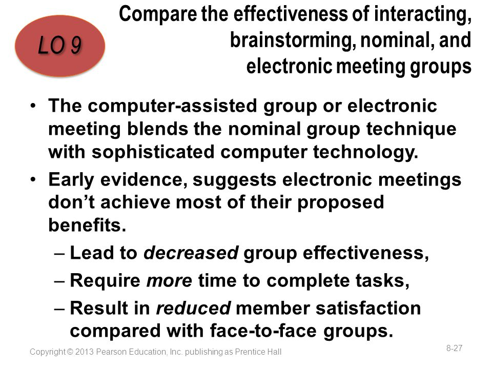 Compare the effectiveness of interacting, brainstorming, nominal, and electronic meeting groups The computer-assisted group or electronic meeting blends the nominal group technique with sophisticated computer technology.