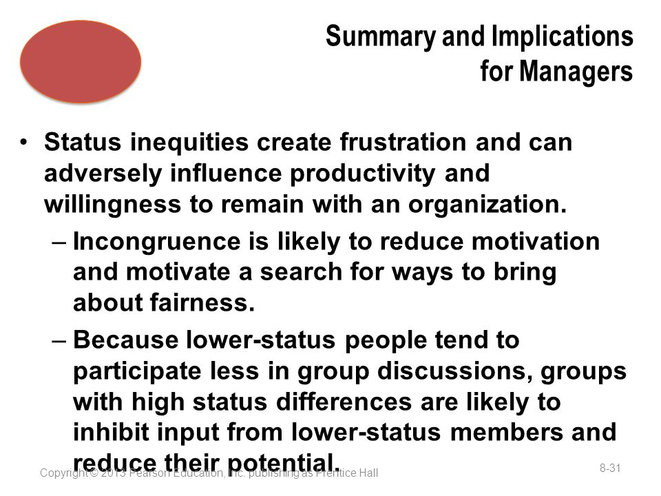Summary and Implications for Managers Status inequities create frustration and can adversely influence productivity and willingness to remain with an organization.