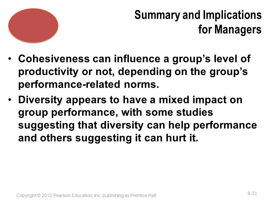 Summary and Implications for Managers Cohesiveness can influence a group's level of productivity or not, depending on the group's performance-related norms.