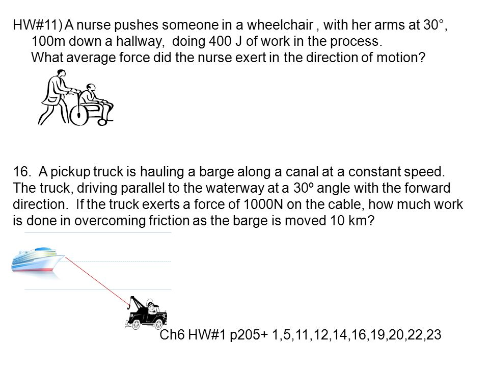 HW#11) A nurse pushes someone in a wheelchair, with her arms at 30°, 100m down a hallway, doing 400 J of work in the process. What average force did t