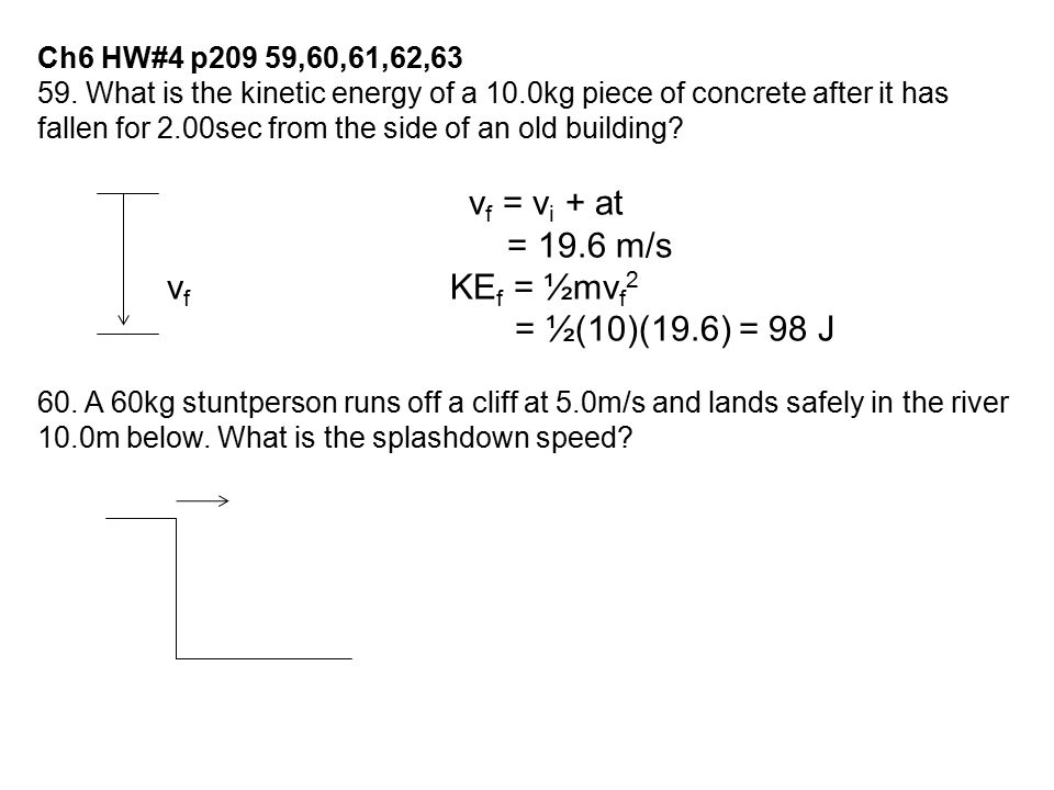 Ch6 HW#4 p209 59,60,61,62,63 59. What is the kinetic energy of a 10.0kg piece of concrete after it has fallen for 2.00sec from the side of an old buil