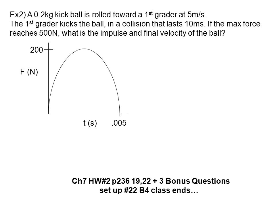 Ex2) A 0.2kg kick ball is rolled toward a 1 st grader at 5m/s. The 1 st grader kicks the ball, in a collision that lasts 10ms. If the max force reache