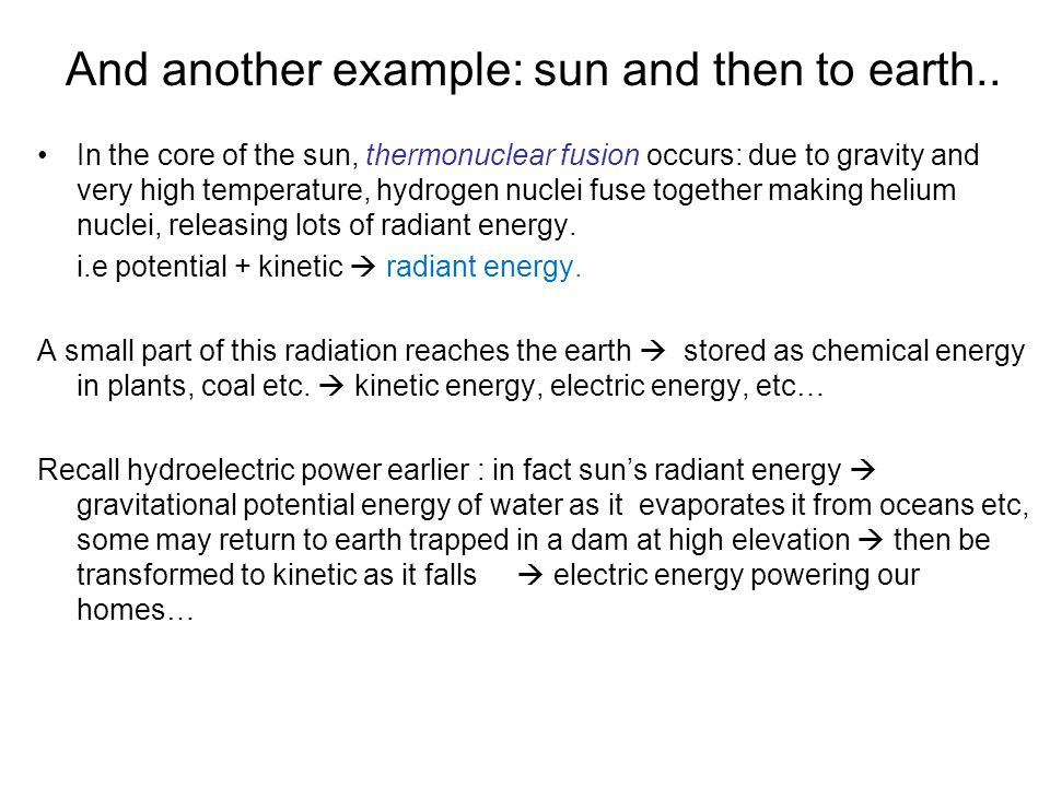 And another example: sun and then to earth..
