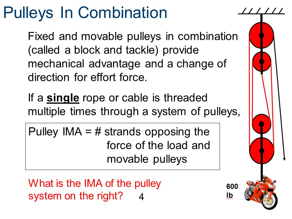 Pulleys In Combination Fixed and movable pulleys in combination (called a block and tackle) provide mechanical advantage and a change of direction for