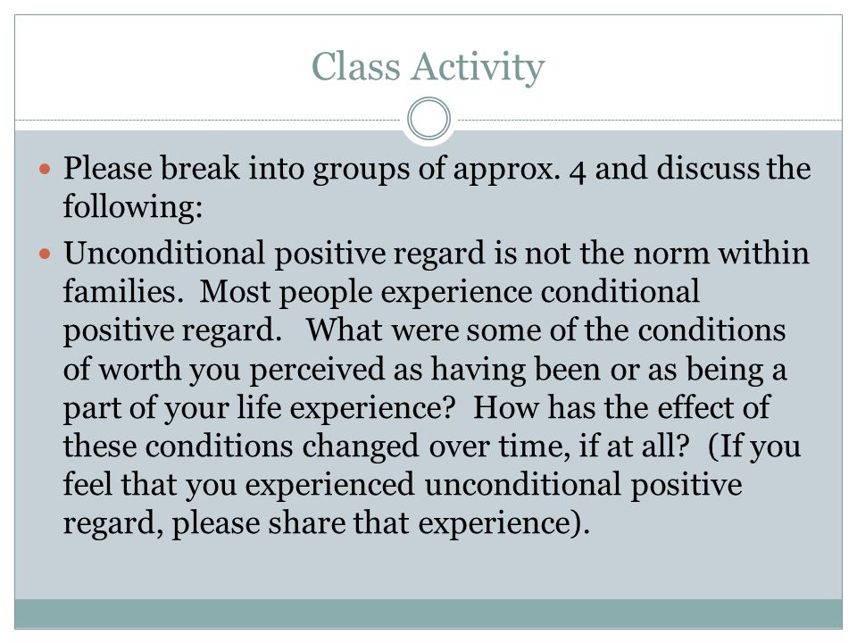 Class Activity Please break into groups of approx.