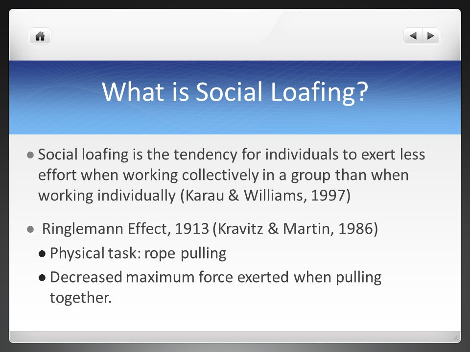 What is Social Loafing.
