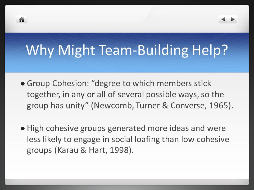 Group Cohesion in Team-Building Found that team-building activities help people learn how to work together for a common goal that will lead them to work more effectively and have a unity of purpose (Yuckelson, 1997).