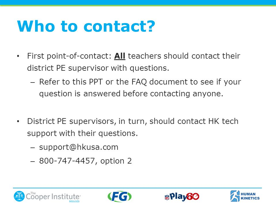 Who to contact.