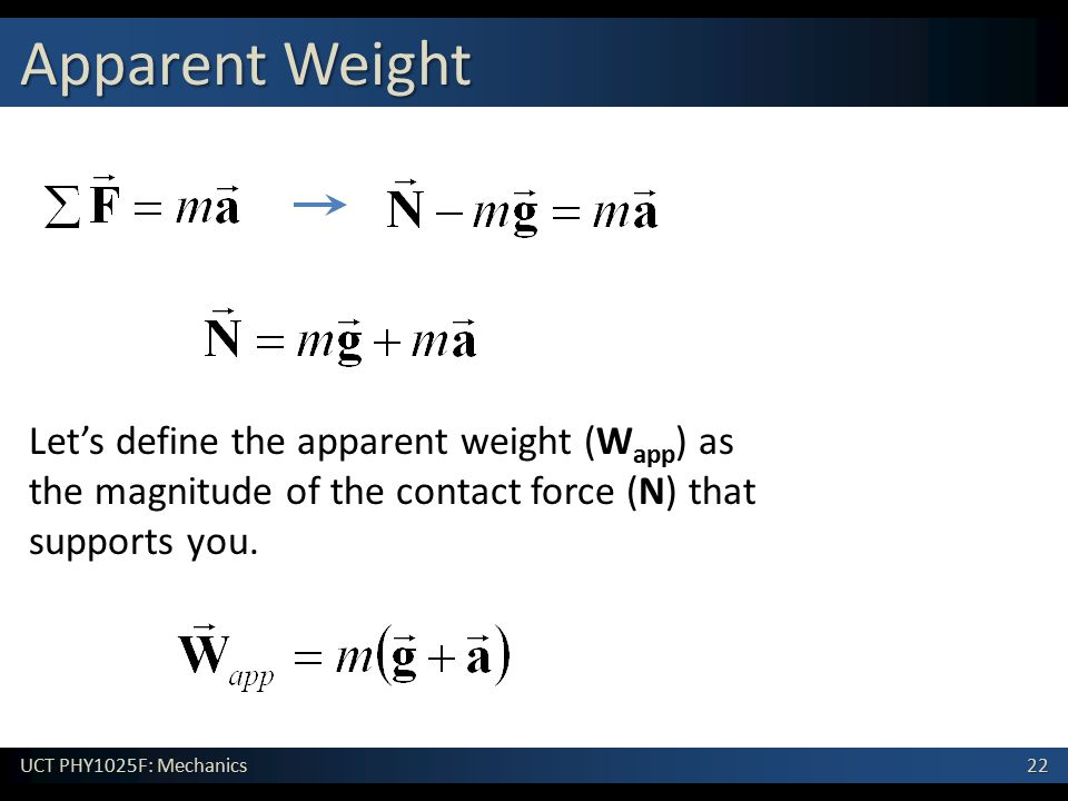 22 UCT PHY1025F: Mechanics Apparent Weight Let's define the apparent weight (W app ) as the magnitude of the contact force (N) that supports you.