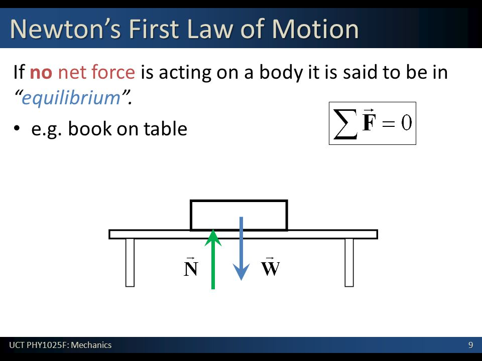 """9 UCT PHY1025F: Mechanics Newton's First Law of Motion If no net force is acting on a body it is said to be in """"equilibrium"""". e.g. book on table"""